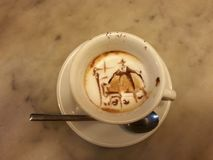 Décoration incroyable de tasse de caffee Photographie stock libre de droits