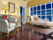 Décoration intérieure de salon classique en journée Images libres de droits