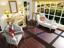Décoration intérieure de salon classique en journée Images stock