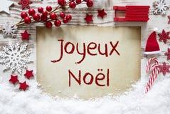 Décoration lumineuse de Noël, neige, Joyeux Noel Means Merry Christmas photo stock