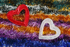 Décoration multicolore de Noël avec des coeurs Photo stock