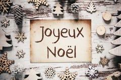 Décoration nostalgique de Noël, papier, Joyeux Noel Means Merry Christmas photographie stock libre de droits