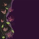 Décoration ondulée florale de carte d'invitation Photos stock