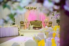 Décoration orientée d'or et de mariage de rose Photos libres de droits