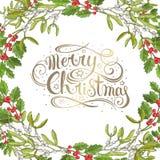 Décoration pour de fête national sur le fond blanc Calibre de conception de Noël Gui d'isolement Noël traditionnel photos stock