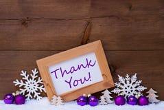 Décoration pourpre de Noël, neige, merci photos stock
