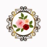Décoration ronde d'or de cadre avec des roses et des feuilles photo libre de droits