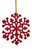 Décoration rouge de flocon de neige Photographie stock