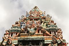 Décoration royale de toit de temple chez Matale, Sri Lanka Photos libres de droits