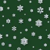 Décoration sans couture de Noël avec les flocons de neige de papier sur le fond vert ENV 10 illustration stock