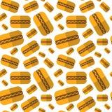 Décoration sans couture de vacances de festival de bière d'Oktoberfest d'ornement de hot-dogs de modèle Photographie stock