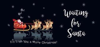 Décoration Santa Ho de attente de Noël de bonne année de vacances d'hiver 2019, ho Ho illustration de vecteur