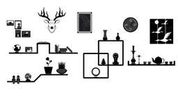 Décoration sur l'étagère et le mur illustration stock