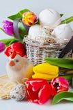 Décoration traditionnelle de Tchèque Pâques - oeufs blancs avec la tulipe Photo libre de droits