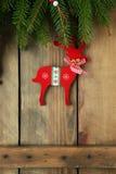 Décorations antiques de cerfs communs de Noël images libres de droits