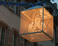 Décorations centrales de Noël de rue de Strasbourg image libre de droits
