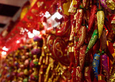 Décorations chinoises de poivrons rouges Images stock
