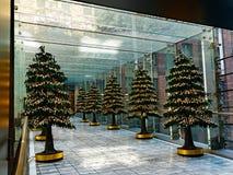 Décorations d'arbre de Noël dans le passage couvert inclus en verre Photo libre de droits