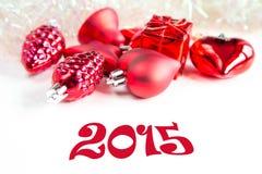 Décorations d'arbre de Noël et signe 2015 Image libre de droits