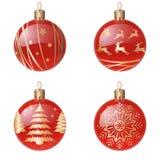 Décorations d'arbre de Noël d'isolement sur l'ensemble blanc d'illustration de vecteur de fond Vacances et célébrations d'hiver illustration de vecteur