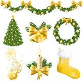 Décorations d'or de Noël Photographie stock libre de droits