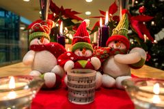 Décorations de bonhommes de neige de Noël photos stock