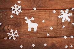 Décorations de cartes de Joyeux Noël dans le style de papier de coupe Photographie stock libre de droits