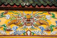 Décorations de dragon Royal Palace impérial de dynastie de Nguyen dans H photographie stock libre de droits