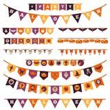 Décorations de Halloween réglées dans le style plat illustration stock