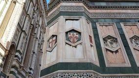 Décorations de la tour de cloche de Giotto à Florence, Toscane, Italie photographie stock