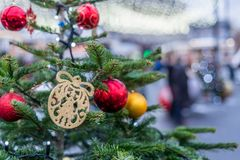Décorations de Noël à Moscou photographie stock libre de droits