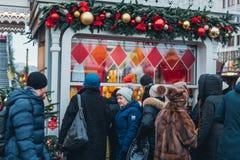 Décorations de Noël à Moscou image libre de droits