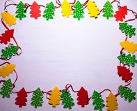 Décorations de Noël Arbres de Noël Fond blanc Image libre de droits