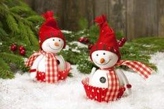 Décorations de Noël avec des bonhommes de neige Images stock