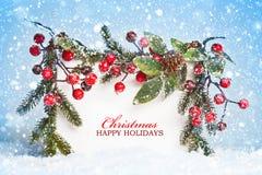 Décorations de Noël avec la neige Photographie stock libre de droits