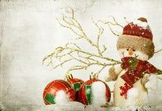 Décorations de Noël avec le bonhomme de neige Photo libre de droits