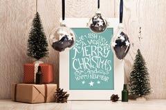 Décorations de Noël avec le cadre Photographie stock libre de droits