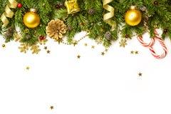 Décorations de Noël d'isolement sur le fond blanc horizontal Images stock