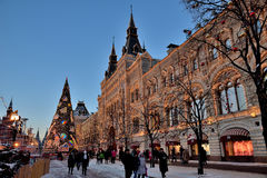Décorations de Noël dans la place rouge sur le ` s, Moscou, Russie de nouvelle année Photographie stock libre de droits