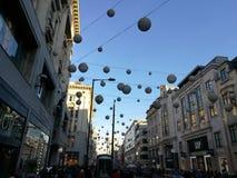 Décorations de Noël dans la rue de régent, Londres Image libre de droits