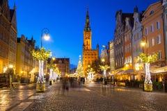 Décorations de Noël dans la vieille ville de Danzig, Pologne Images libres de droits