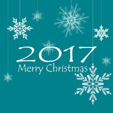 Décorations de Noël de carte de Joyeux Noël Flocons de neige Vecteur Images libres de droits