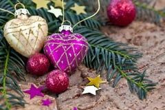 Décorations de Noël et branches de pin Photos stock