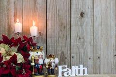 Décorations de Noël et la foi de mot Image stock