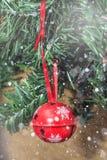 Décorations de Noël sur l'arbre sous la neige Photos libres de droits