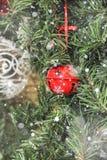 Décorations de Noël sur l'arbre sous la neige Photo stock