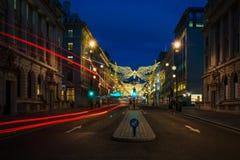 Décorations de Noël sur la rue St James, Londres centrale de régents Photos libres de droits