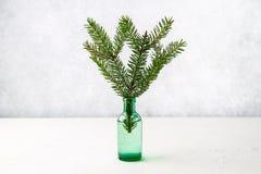 Décorations de Noël sur la table, branche impeccable dans la bouteille Photographie stock