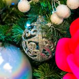 Décorations de Noël sur les branches de l'arbre de sapin Photo stock