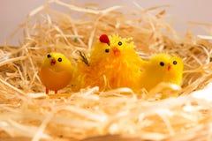 Décorations de Pâques - poulets et poule dans la couvée photographie stock libre de droits